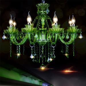 European Style Crystal Green Chandelier Candle Pendant Light Bedroom Living Room Hallway HQ9022