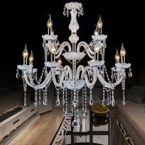 Large Crystal Chandelier Unique European White Jade Pendant Light Living Room Bedroom