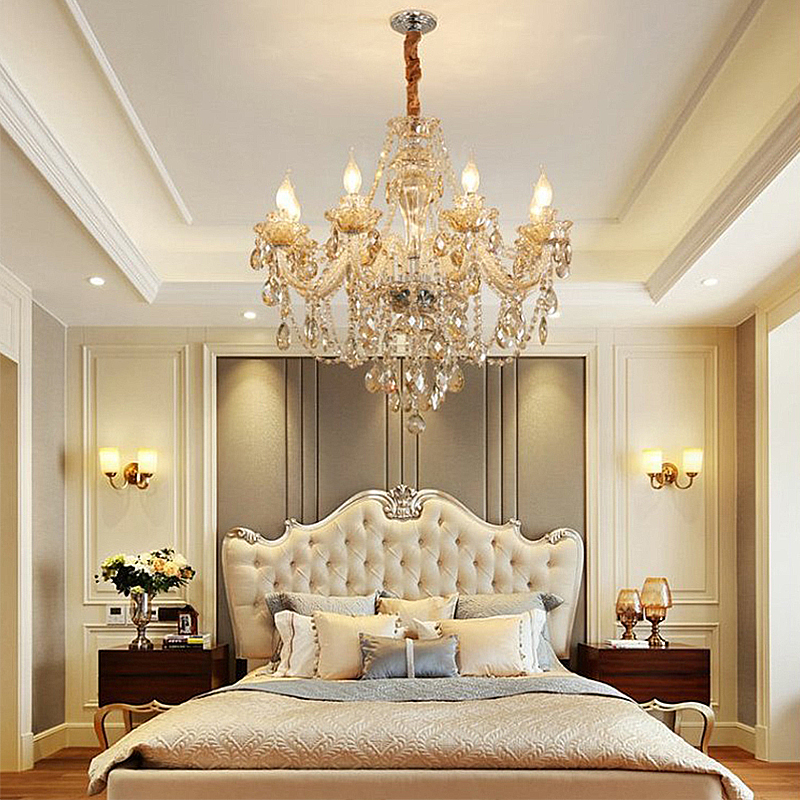 Crystal Chandelier Cognac Ceiling Light, Crystal Chandelier Bedroom Lighting
