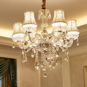 Elegant Modern Crystal Chandelier Transparent Pendant Light Dining Room Bedroom Living Room