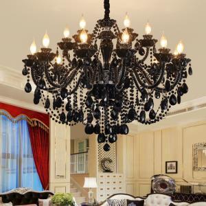 Luxury European Style Crystal Chandelier Black Pendant Light Bedroom Living Room Study