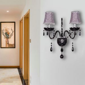 European Style Crystal Sconce Black Two-Light Candle Wall Light Bedroom Living Room Hallway