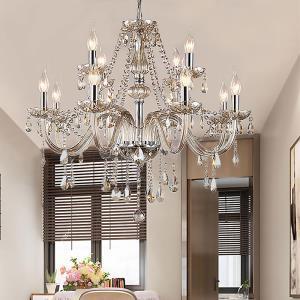 Large Crystal Chandelier Cognac European Ceiling Light Bedroom Living Room