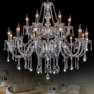 European Crystal Chandelier Transparent Pendant Light Bedroom Living Room