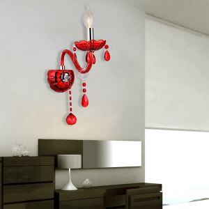 European Wall Light Crystal Sconce Red Colour Hallway Hotel Rooms HQ 335