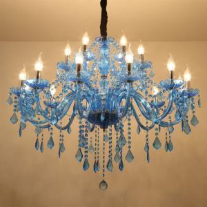 Large Crystal Chandelier European Pendant Light Blue Colour Esthetic Hotel Living Room HQ9048