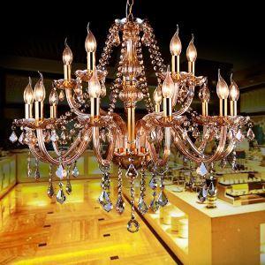 European Crystal Chandelier Elegant Large Pendant Light Amber Living Room Bedroom