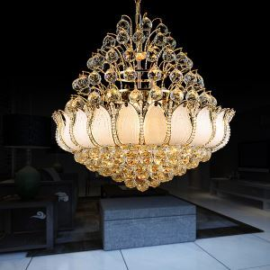 Contemporary Crystal Chandelier Gold Colour Pendant Light Lotus Bedroom Living Room