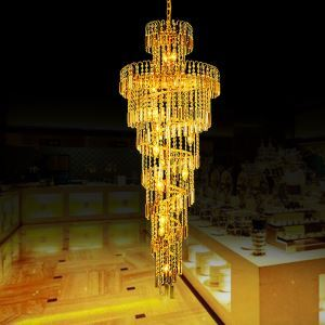 Luxury Crystal Chandelier European Style Long Pendant Light Living Room Duplex Staircase