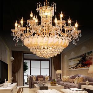 Large Luxury Crystal Chandelier European Gold Ceiling Light Dining Room Hotel