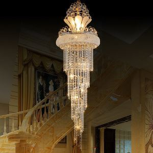 Graceful Crystal Chandelier Modern Simple Long Pendant Villa Living Room Duplex Staircase