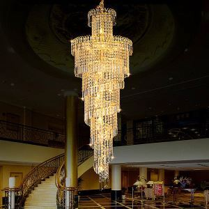 European Crystal Chandelier Large Round Shape Long Pendant Hotel Lobby Villa