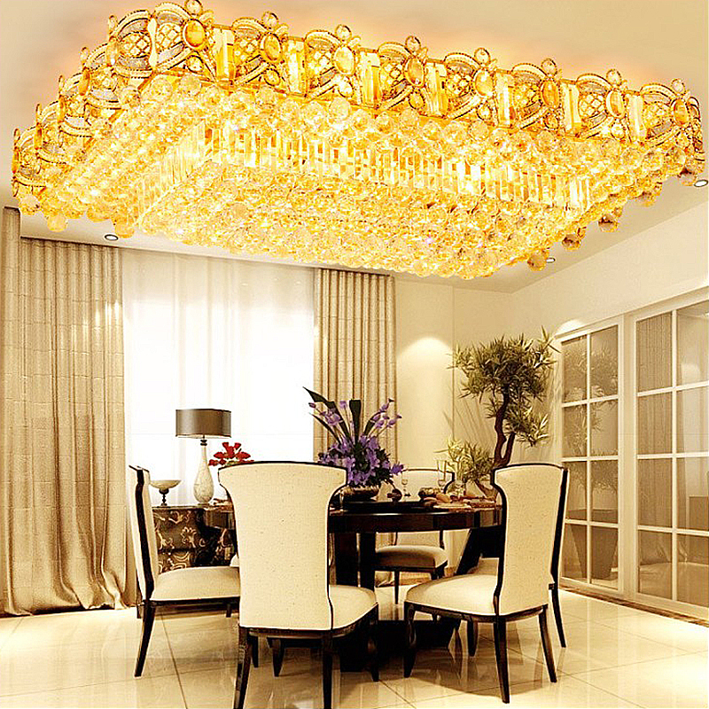 Contemporary Led Crystal Ceiling Light, Flush Mount Dining Room Lighting