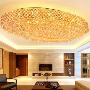 Large LED Crystal Ceiling Light Modern Simple Oval LED Flush Mount Lighting Hotel Lobby