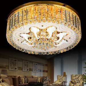 Graceful LED Flush Mounted Light Gold LED Crystal Ceiling Light Living Room Bedroom