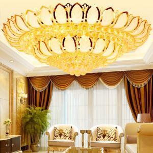 Modern Simple LED Flush Mounted Gold Lotus Crystal Ceiling Light Living Room Lobby