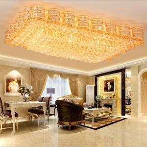 LED Crystal Ceiling Light European Flush Mounted Square Luxury Light Living Room Hotel