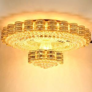 European Crystal LED Flush Mounted Flower Basket Crystal Flush Mount Lighting Living Room Bedroom
