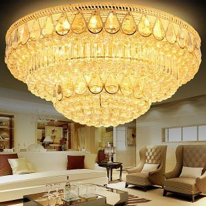 Luxury LED Flush Mount Crystal Ceiling Light Round LED Light Bedroom Living Room