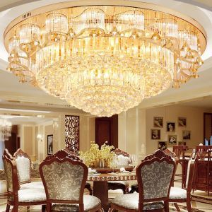 LED Flush Mount European Luxury Crystal Round Ceiling Light Living Room Lobby