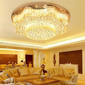 Contemporary LED Flush Mount Crystal Ceiling Light Luxury Round LED Lighting Living Room Bedroom