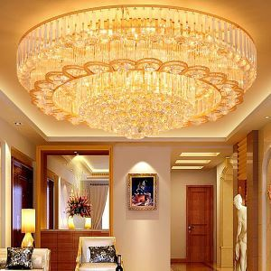 European Gold LED Flush Mount Crystal Ceiling Light Round Living Room Hotel Lobby
