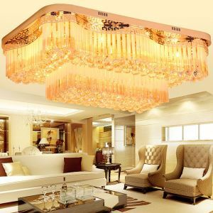 Modern Simple LED Flush Mount Square Crystal Ceiling Light Study Bedroom