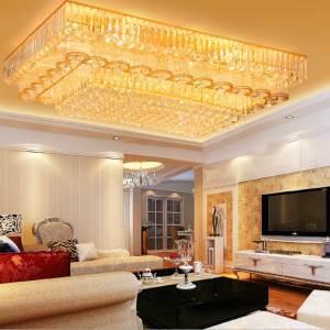 Gold LED Flush Mounted European Square Crystal Ceiling Light Living Room Lobby