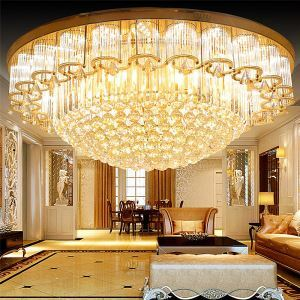 LED Flush Mount European Crystal Ceiling Light Luxury Round Lighting Living Room Lobby