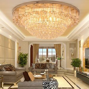 LED Flush Mounted European Style Gold Crystal Chandelier Round Dining Room Hotel Lobby