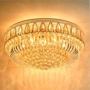 Modern Simple LED Flush Mounted Round Crystal Chandelier Living Room Lobby