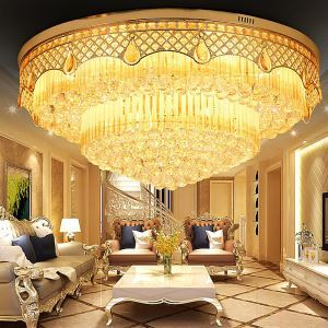 European LED Flush Mount Crystal Ceiling Light Round LED Light Living Room Lobby