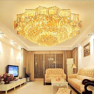 Elegant LED Flush Mounted Round Crystal Chandelier Flower Shaped Living Room Hotel Lobby