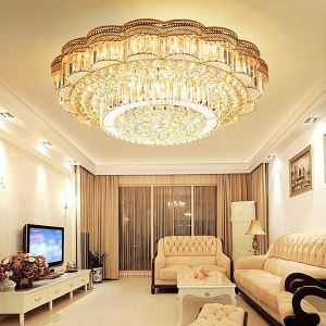 European Style LED Flush Mounted Round Crystal Chandelier Wave Band Living Room Lobby
