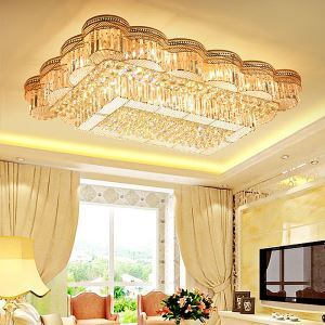 Luxury Gold LED Flush Mounted Modern Square Crystal Chandelier Living Room Dining Room