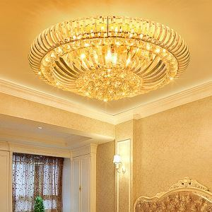 Modern Simple LED Flush Mounted Crystal Round Lighting Living Room Hotel Lobby