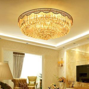 Contemporary Simple LED Flush Mounted Round Crystal Chandelier Dining Room Lobby