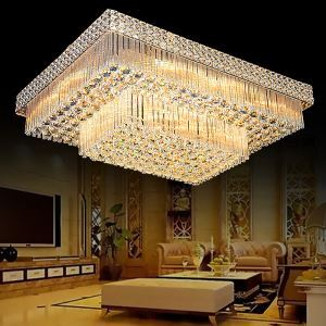 European LED Flush Mount Square Crystal Chandelier Living Room Lobby