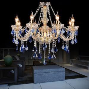 European Crystal Chandelier Luxury Pendant Light Blue Pendant Living Room Bedroom HQ9032