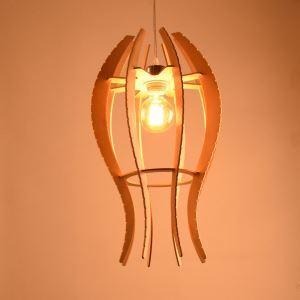 Nordic Pendant Light Solid Wood Fish Shape Decorative DIY Lighting Living Room Cafe