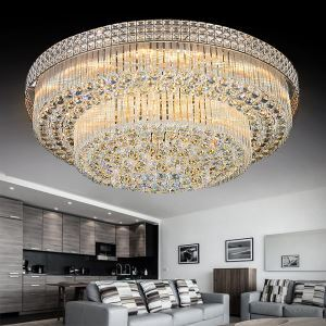 Modern LED Crystal Chandelier Round LED Flush Mounted Bedroom Dining Room