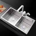 Nano Stainless Steel Kitchen Sink Thicken Double Bowl Handmade Washing Sink