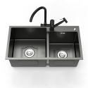 Double Bowl Black Stainless Steel Sink for Kitchen 201 Nano Thicken Sink