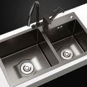 Nano 201 Stainless Steel Sink Black Double Bowl Thicken Handmade Sink