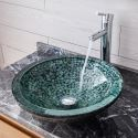 Tempered Glass Sink and Faucet Set Small Stone Pattern Round Basin Bathroom Countertop Vessel Sink Tap BWY19-173