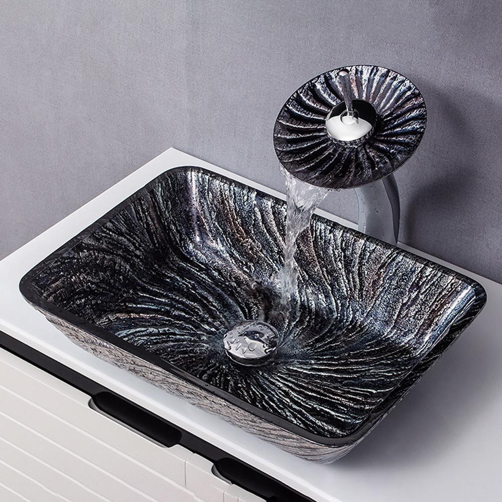 Rectangle Glass Sink And Faucet Set Black Spiral Pattern Basin Bathroom Countertop Waterfall Vessel Sink Tap Bwy19 189