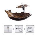 Unique Sink and Faucet Set Fish Shape Basin Tempered Glass Bathroom Countertop Kids Vessel Sink Tap