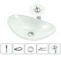 Sink and Faucet Set White Ingot Basin Tempered Glass Bathroom Countertop Waterfall Vessel Sink Tap BWY19-119