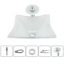 Square Sink and Faucet Set White Color Basin Tempered Glass Bathroom Countertop Waterfall Vessel Sink Tap BWY19-120