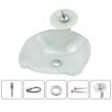 White Sink and Faucet Set Irregular Basin Tempered Glass Bathroom Countertop Waterfall Vessel Sink Tap BWY19-116